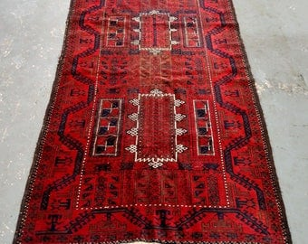 Persian Rug - 1950s Hand-Knotted Semi-Antique Balouch Rug (3643)