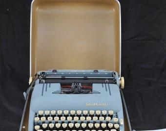 EXC Refurbished 1956 Smith Corona Super SILENT Blue Portable Typewriter  W/ WARR