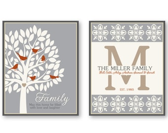 Personalized Family Tree Art Prints, Birds, Monogram Home Decor Set of (2) 8x10 or 11x14 Grey, Tan, Burnt, Cream, Family Wall Art - Unframed