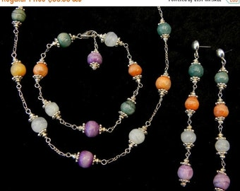 30% OFF CLEARANCE SALE Mexican Onyx Travertine Banded Agate Sterling Chain Necklace Bracelet Earrings Parure