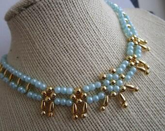 Beaded Choker - light blue gold bead choker - choker jewelry - necklace jewelry - bead choker jewelry - flower bead choker - necklace choker