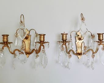 Antique French Crystal Bronze Wall Sconces