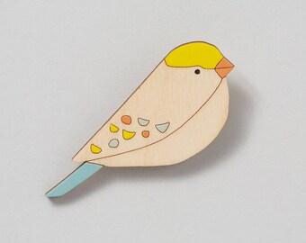 Wooden Bird Brooch - Songbird - Bird brooch - Gifts for Her - Gift for Bird Lover