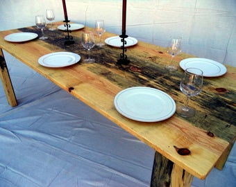 Farmhouse Table built with Ponderosa Blue Pine ( local pick up/ delivery only please )