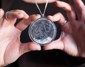 Snow moon necklace - celestial full moon - February full moon - February birth month gift - full moon necklace