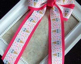 Kawaii icecream bow, Ponytail bow, hair tie or hair clip, sprinkle bow, girly bow