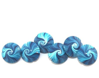 SPRING SALE Polymer Clay beads, swirl lentil beads in blue, turquoise and white, unique pattern, elegant beads Set of 6
