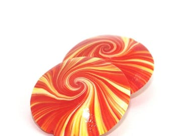 SPRING SALE Swirl lentil Beads, Polymer Clay beads in orange, yellow and white, unique pattern, Set of 2