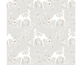 Taupe Deer by Betsy Olmsted for Clothworks Fabrics Organic Cotton Organic Woodland Fabric Deer Fabric Animal Fabric Taupe Woodland Fabric