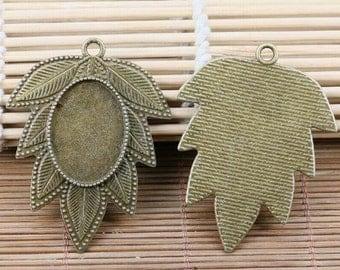 2pcs antiqued bronze leaf shape oval 25x18mm cabochon setting EF2170