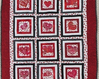 "Tummy Time Quilt - ""All My Heart"""