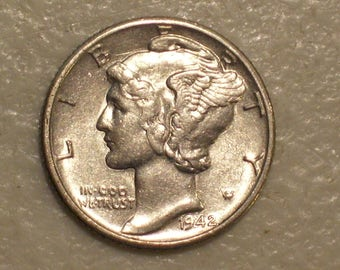 US 1942-D Winged Liberty Head Mercury Dime, AU, Silver