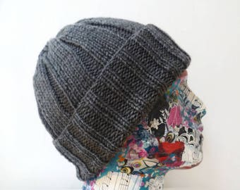 Men Grey Watch Cap - Hand Knit Hat - Hand Knitted Watchman Cap - Men Acrylic Beanie Hat -  Men Ribbed Watch Cap - ClickClackKnits