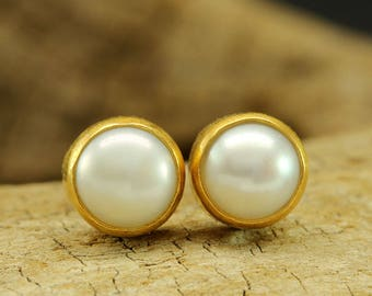 Handcrafted Artisan 24K Yellow Gold over 925 Solid Sterling Silver Natural Freshwater White Pearl, Roman Art Designer Handmade Stud Earrings