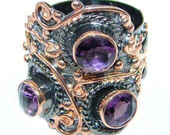 Amethyst Sterling Silver Ring - weight 13.60g - Size adjustable - dim L - 1, w - 7 8, T - 3 16 inch - code 18-kwi-17-6