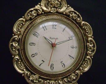 Vanity Clock,  Hollywood Regency, Electric Alarm, Works great