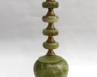 Modern shaped vintage green onyx table lamp