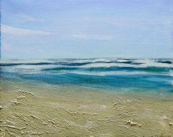 "Beach Painting - Acrylic on Canvas 10"" x 12"" ""Sea Breeze"""