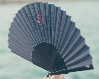 FOLDING FAN | Goth style hand fan | black with red rose tattoo design | gift for her | Free Shipping Worldwide