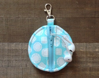 Light Blue Gems / Diamonds - Circle Zip Earbud Pouch / Coin Purse Case Holder - White Diamond