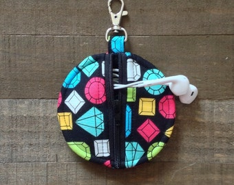Black Gems / Diamonds - Circle Zip Earbud Pouch / Coin Purse Case Holder - Pink, Lime Green, Blue, Yellow