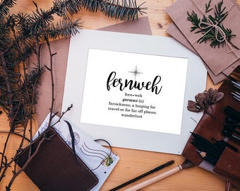 Travel Inspired Fernweh Definition Wanderlust Typography DIY Print Your Own Poster Digital Download Printable Travelers Home Decor