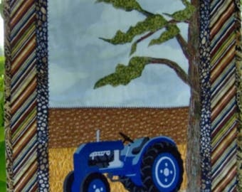 BLUE VINTAGE TRACTOR  Wall Art Quilt Western Country Farm Décor Man Cave Gift Item
