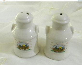 CYBER SALE Vintage Arizona Cactus Souvenir Ceramic Salt and Pepper Shakers