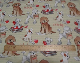Cream Striped Dogs in School Flannel Fabric  by the Yard