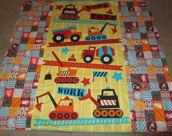 Orange/Brown Truck/Dozer/Construction Cotton/Minky Baby/Toddler Blanket