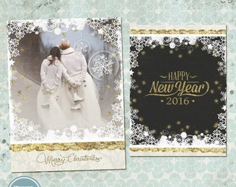 ON SALE INSTAND Download - Christmas Photo Card, Photoshop Christmas Card Template for Photographers