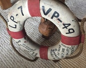 Vintage Life Preserver Red White Nautical