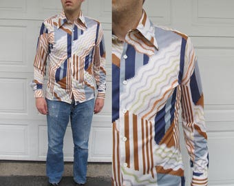 1970s mens psychedelic shirt, abstract print, blue, rust, grreen, L