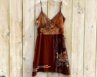 Upcycled Romantic country tunic dress Boho chic dress  Women's upcycled clothing  Festival clothing Eco vintage retro lace and sequins