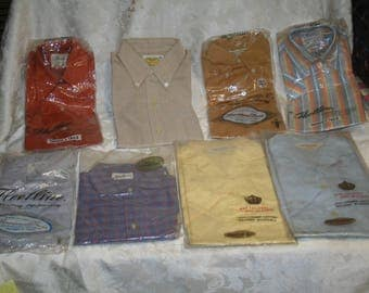 Vintage Lot of Shirts 1950s / 1960s Fleetline, Sanforized, MORE!  Some Still in Original Packages!  Boys' + Men's Sizes!  Eight in All!!