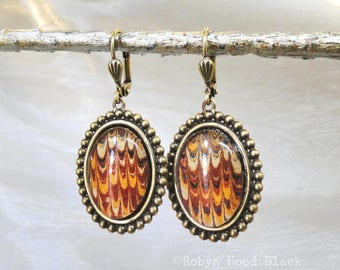 Antique Dickens 1863 Endpapers Upcycled Earrings - Sunrise Hues