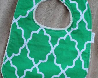 Green and White Quatrefoil Baby bib Minky back