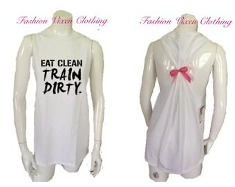 Eat Clean Train Dirty Workout Gym Tank Top S M L XL Plus Size 1x 2x 3x 4x 5x
