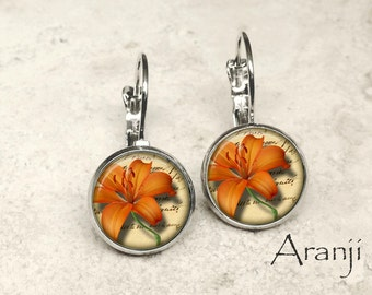Orange tiger lily earrings, lily earrings, tiger lily earrings, orange lily earrings, tiger lily jewelry, orange flower, tiger lily, PL154LB