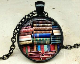 Book art pendant, book necklace, book jewelry, books, library necklace, library pendant, bookshelf necklace, Pendant #HG152BK