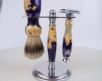 Buckeye Burl Wood and Purple/White Acrylic Swirls Fusion Shaving Set with Silvertip Shaving Brush
