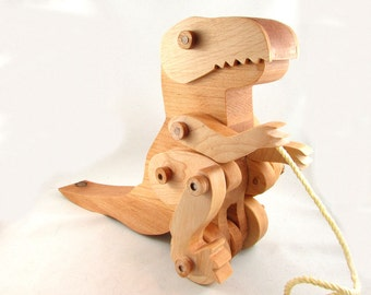 wooden dinosaur toy - t rex pull toy - toddler pull toy - t rex dinosaur - animated wooden toy - Dinosaur Toy - Wood dinosaur toy - Dinosaur