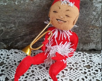 """Vintage Pixie Elf, Knee Hugger, Red Felt and Tinsel, Christmas Decor, Retro, 1950's, Collectible, Tree Ornaments, Holiday Decor, 11"""" Tall"""