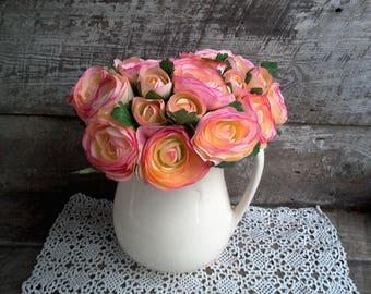 Pink Silk Ranunculus Artificial Flowers, Stem Flowers, Bridal Bouquet, Wedding, Flower Arrangement, Stemmed Flowers, Center Piece