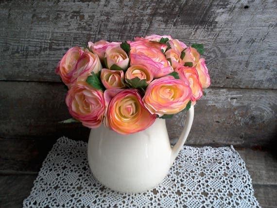 Pink Silk Ranunculus Artificial Flowers, Stem Flowers, Bridal Bouquet, Wedding, Flower Arrangement, Stemmed Flowers, Center Piece