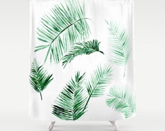Palm Leaf Shower Curtain, tropical curtain, palm bathroom, palm leaf shower, modern shower curtain, palm shower curtain, tropical shower
