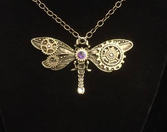 Steampunk dragonfly pendant, Clockwork dragonfly necklace, industrial jewelry, dragonfly pendant, fantasy jewelry, watch gear jewelry