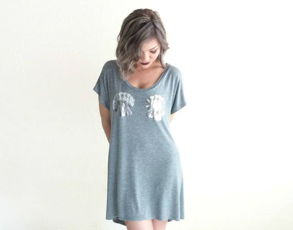 Mermaid High-Low TShirt Dress / Tunic / Long Tee / Heather Gray with Silver Foil Seashells / Beach / Sleep Shirt / Mermaid Top / Gift