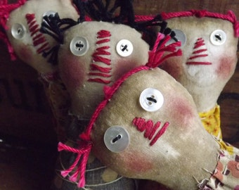 Primitive Rag Doll Bowl Fillers Grungy Rag Doll Primitive Home Decor Set of 2