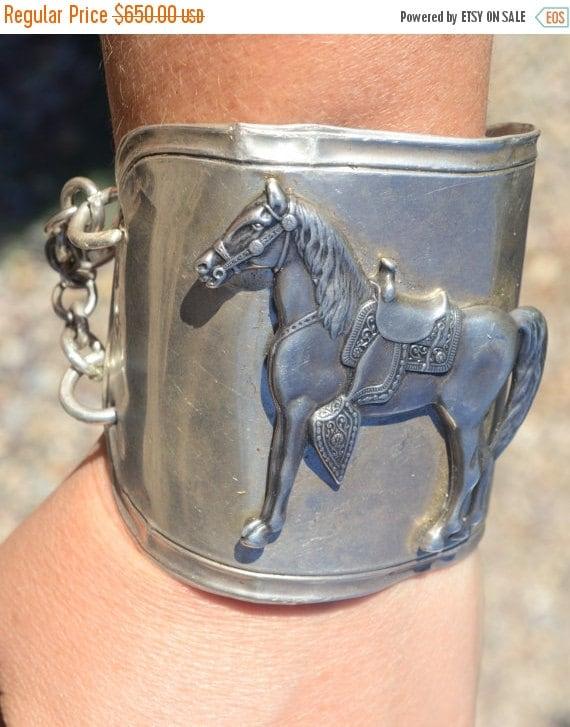 SALE 40% OFF Antique Sterling Silver 925 Art Deco Wide Equestrian Horse Cuff Statement Bracelet Upcycle Repurposed Vintage Cowboy Southweste